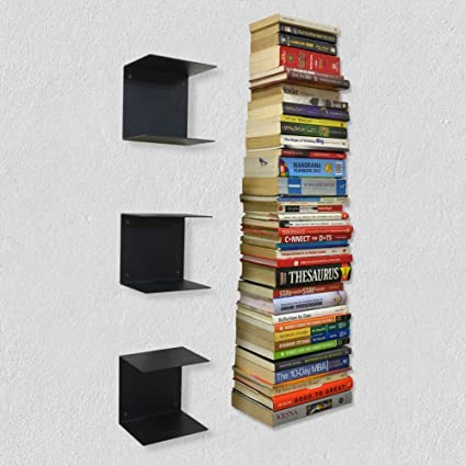 A10 Shop Zeta Metal Shelves Invisible Wall Mount Bookshelves- Black (Set of 3)