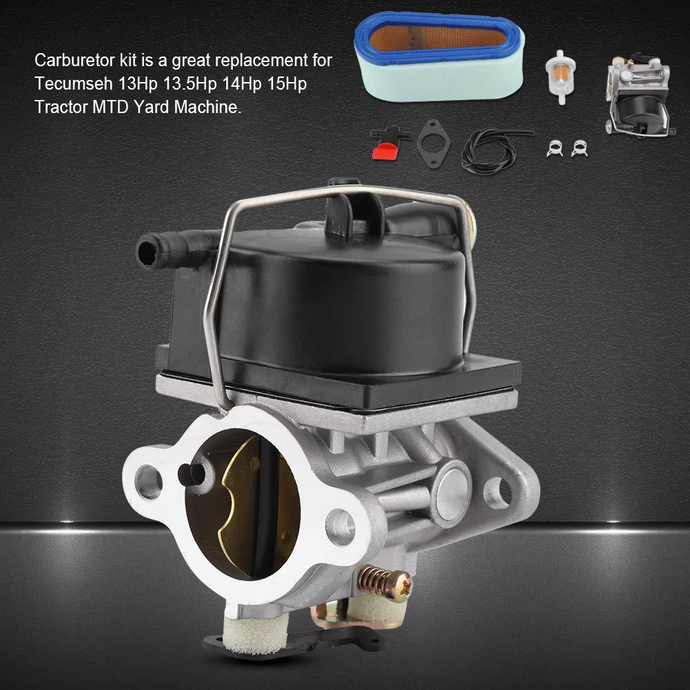 TOPINCN Kit de carburador con Filtro de Aire Carb For Tecumseh 640065A 13Hp 13.5Hp 14Hp 15Hp Herramienta de jard/ín de Repuesto