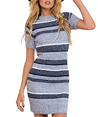 1af9e5a2a8e Mansy Womens Knitted Sweater Dress Short Sleeve Pullover Mini Jersey Dress  Grey-Blue