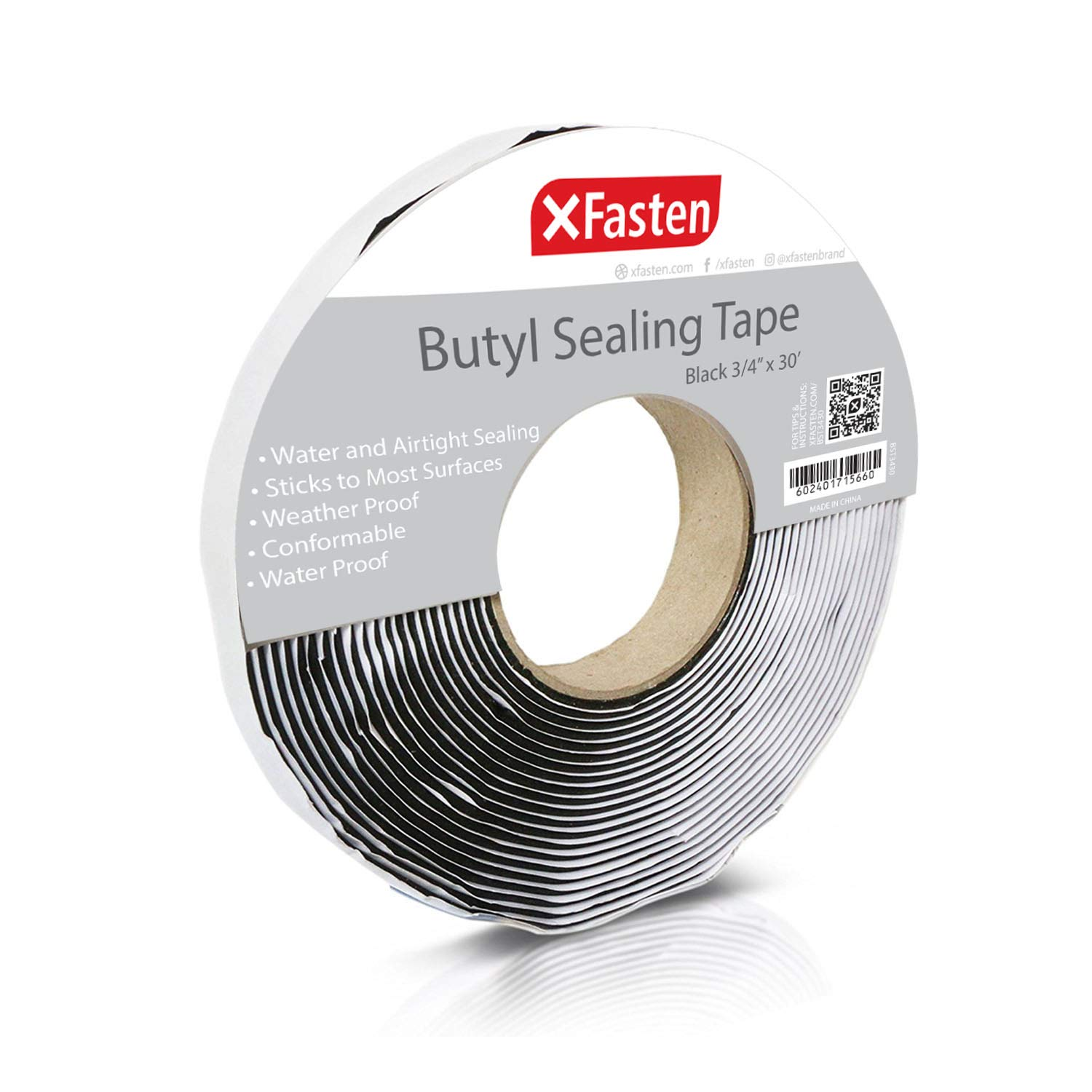 XFasten Black Butyl Seal Tape 1/8-Inch x 3/4-Inch x 30-Foot Leak Proof Putty Tape for RV Repair, Window, Boat Sealing, Glass and EDPM Rubber Roof Patching by XFasten
