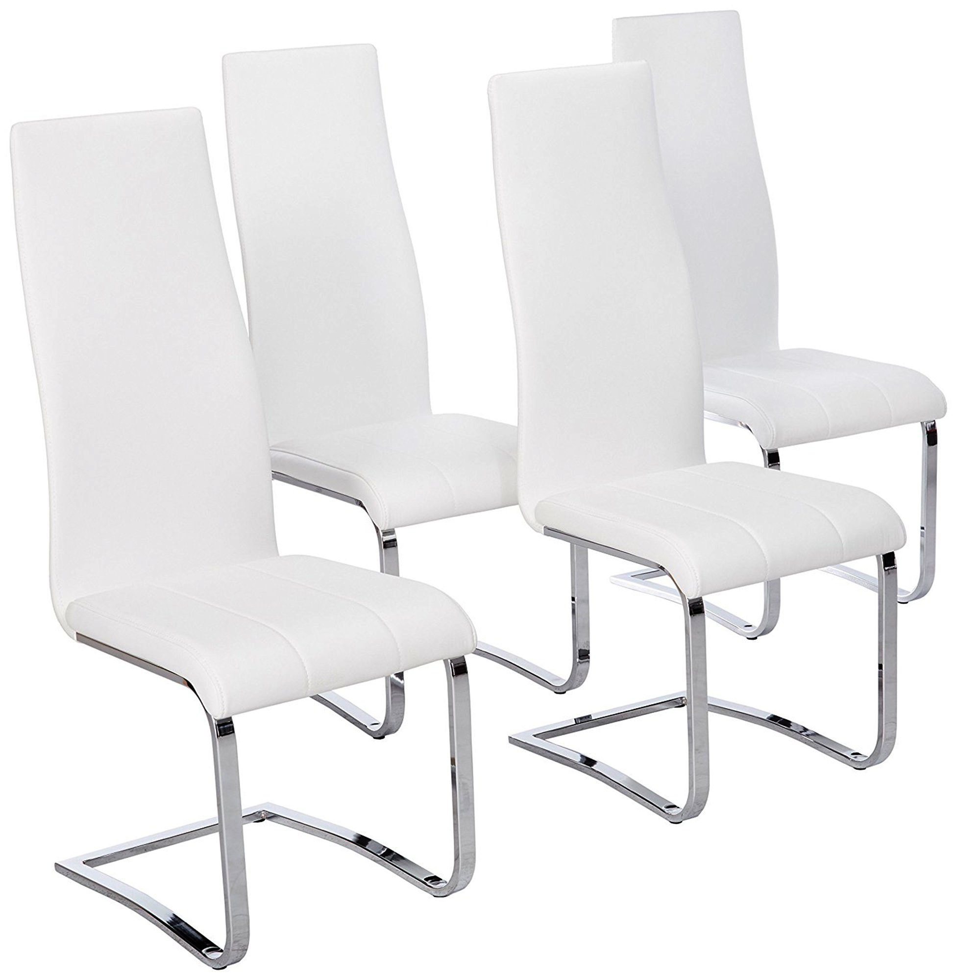 Faux Leather Dining Chairs Chrome and White (Set of 4) by Coaster Home Furnishings