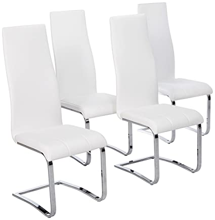 Amazon Com Faux Leather Dining Chairs Chrome And White Set Of 4