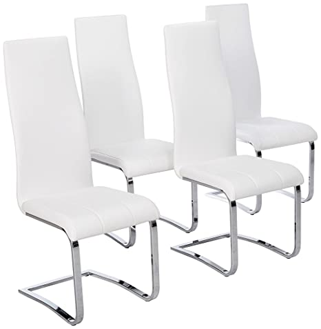 Awe Inspiring Faux Leather Dining Chairs Chrome And White Set Of 4 Ibusinesslaw Wood Chair Design Ideas Ibusinesslaworg