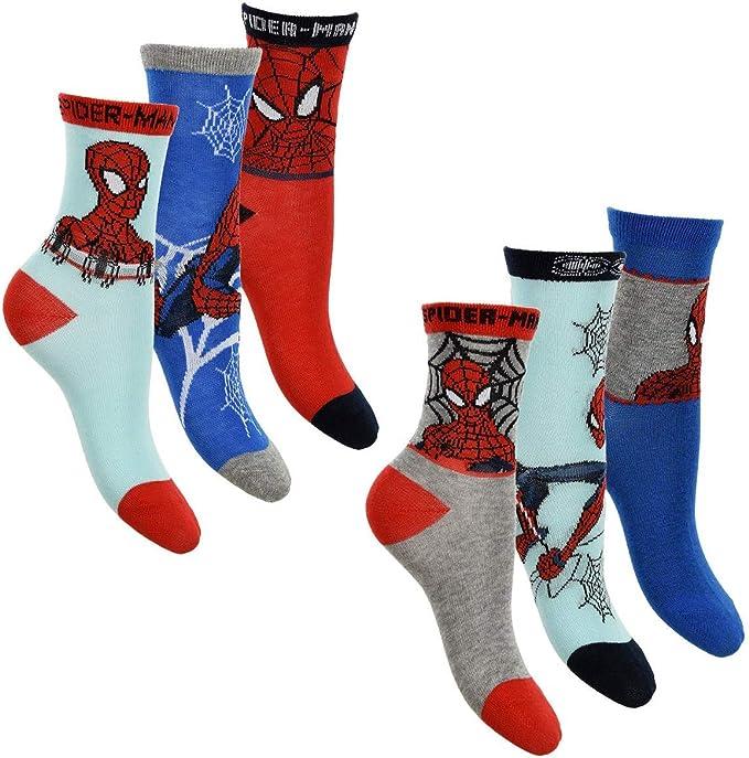 Spiderman - Pack de 6 calcetines para niño con muchos diseños y ...