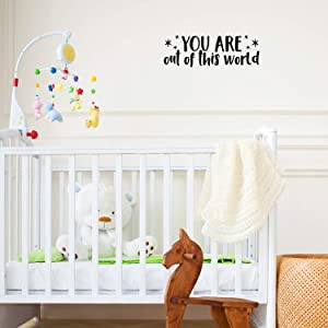 """Vinyl Wall Art Decal - You are Out of This World - 7.5"""" x 22"""" - Modern Motivational Self Steem Quote for Home Apartment Bedroom Closet Kids Room Office Decor Stars Sticker (Black)"""