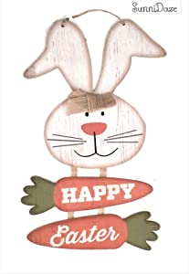 Sunni HAPPY EASTER (BONUS SD Exclusive Mini Balloon) Glitter Bunny Carrot Fastive Boys Girls Children Spring Party Decor Decorations Hanging Wall Sign