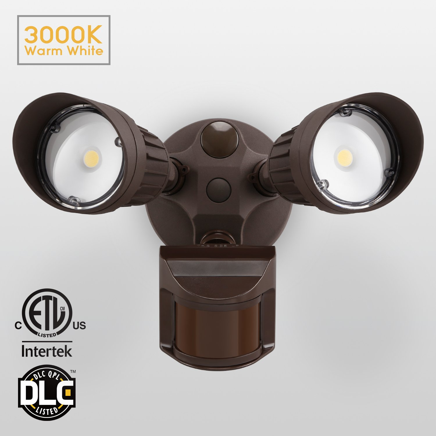 20W Dual-Head Motion-Activated LED Outdoor Security Light, Photocell Included, Newly Designed 3 Lighting Modes, 3000K Warm White, Waterproof, 120W Halogen Equiv. Illumination for Yard, Garage, Bronze