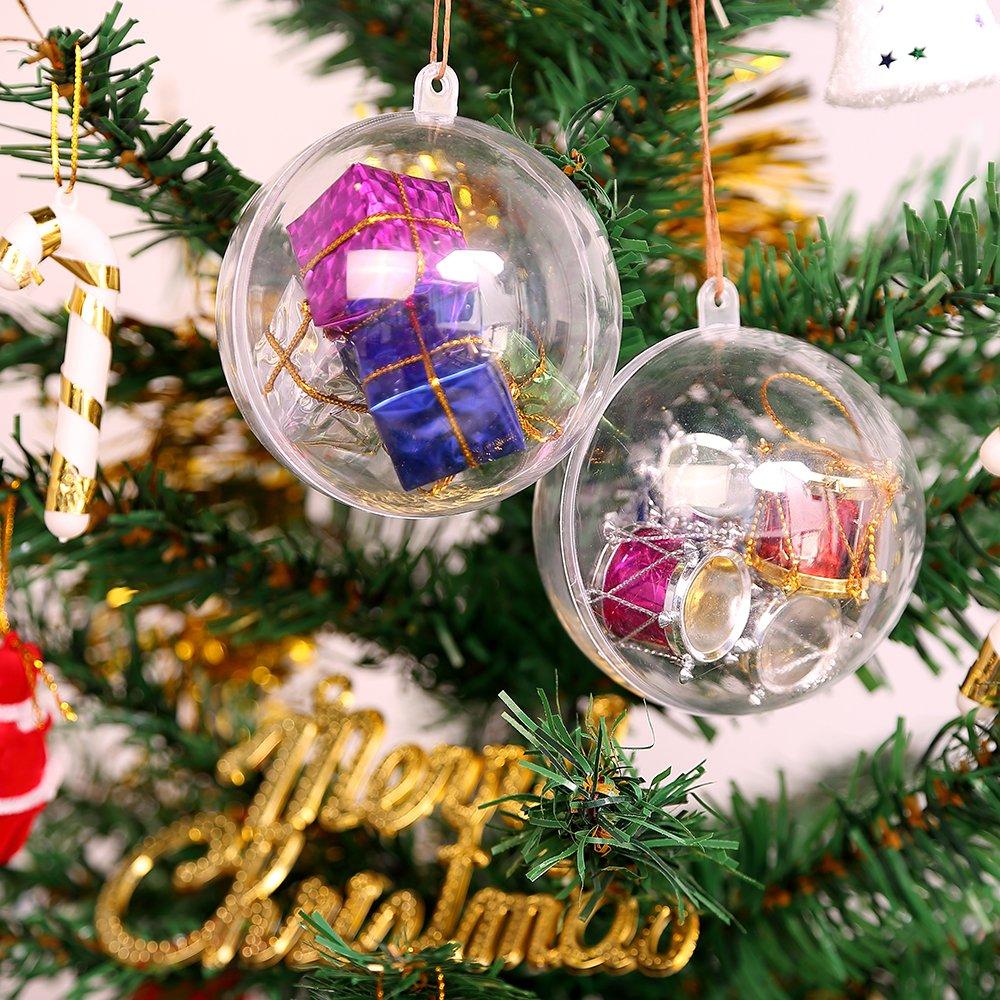 20 * 5cm Kranich 20pcs Boules de No/ël Transparentes en Plastique Arbre de No/ël D/écoration Cadeau Mariage Ornements