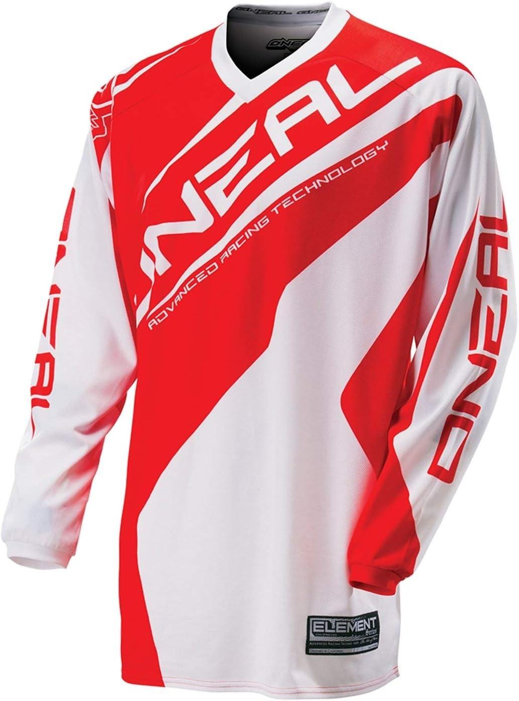 0024r 31 O Neal Element MX Jersey Racewear Bianco Rosso Maglia Moot ocross Enduro Offroad Downhill