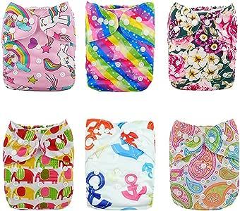 Alva Baby - 6 Pañales de tela con 12 absorbentes reutilizables, lavables a máquina 6DM18. Talla:All in one: Amazon.es: Bebé