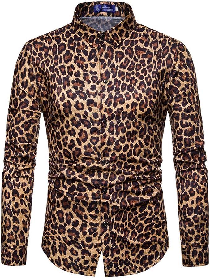 Camisa Tipo Polo para Hombre con Estampado de Leopardo, Manga ...