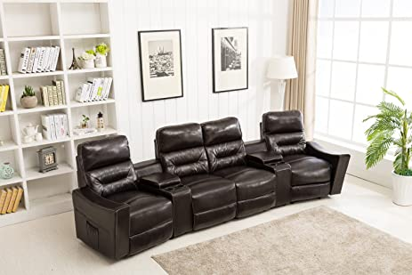 Beau MCombo 7096 Four In One Massage Recliner Vibrating Heated Electric Leather  Sofa Set,