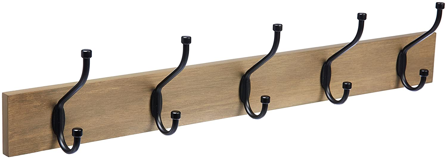 AmazonBasics-Wall Mounted Coat Rack, Light Walnut 1005846-1029-A60