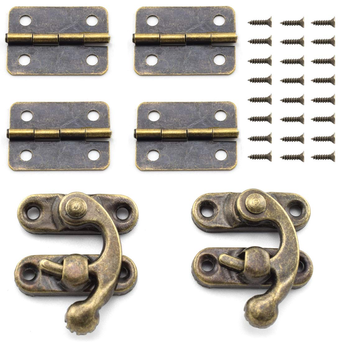 Mini Engrave Retro Hinges With Screws For Wooden Box Jewelry Chest Box Cabinet