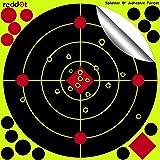 Reddot Shooting Targets - 8 inch Splatter Adhesive Reactive Paper Targets Fluorescent Yellow Upon Impact Gun Rifle Pistol AirSoft BB Gun Pellet Gun Air Rifle