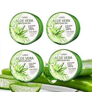 Pack of 4 Aloe Vera Gel 100% Skin Moisturer Soothing Gel 10.15 Fluid Ounce Each Korean Cosmetics