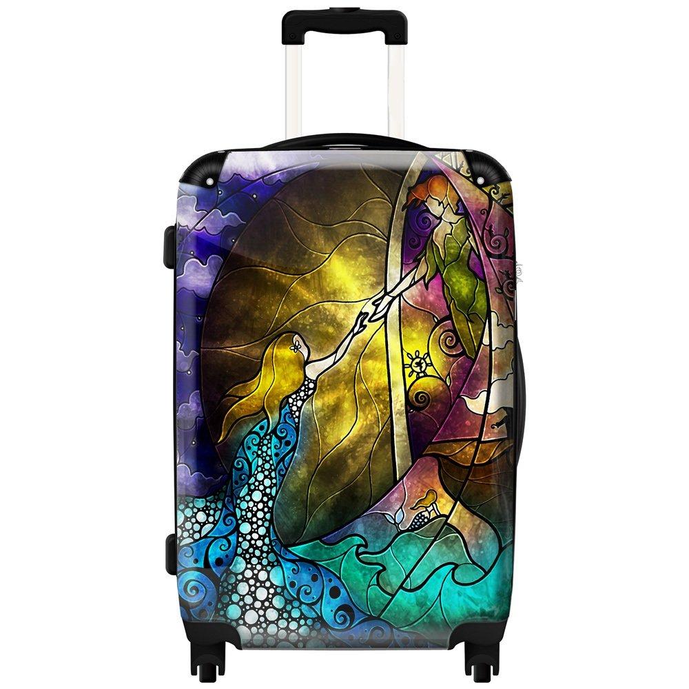 24インチガールズカラフルマーメイドテーマ旅行荷物1ピース、美しい自然アートワークデザイン、スタイリッシュ、ファッショナブルな、軽量、ハードシェル、Hardsided、Upright Rolling Carry Onスーツケース、イエローブルー B073GB33MD