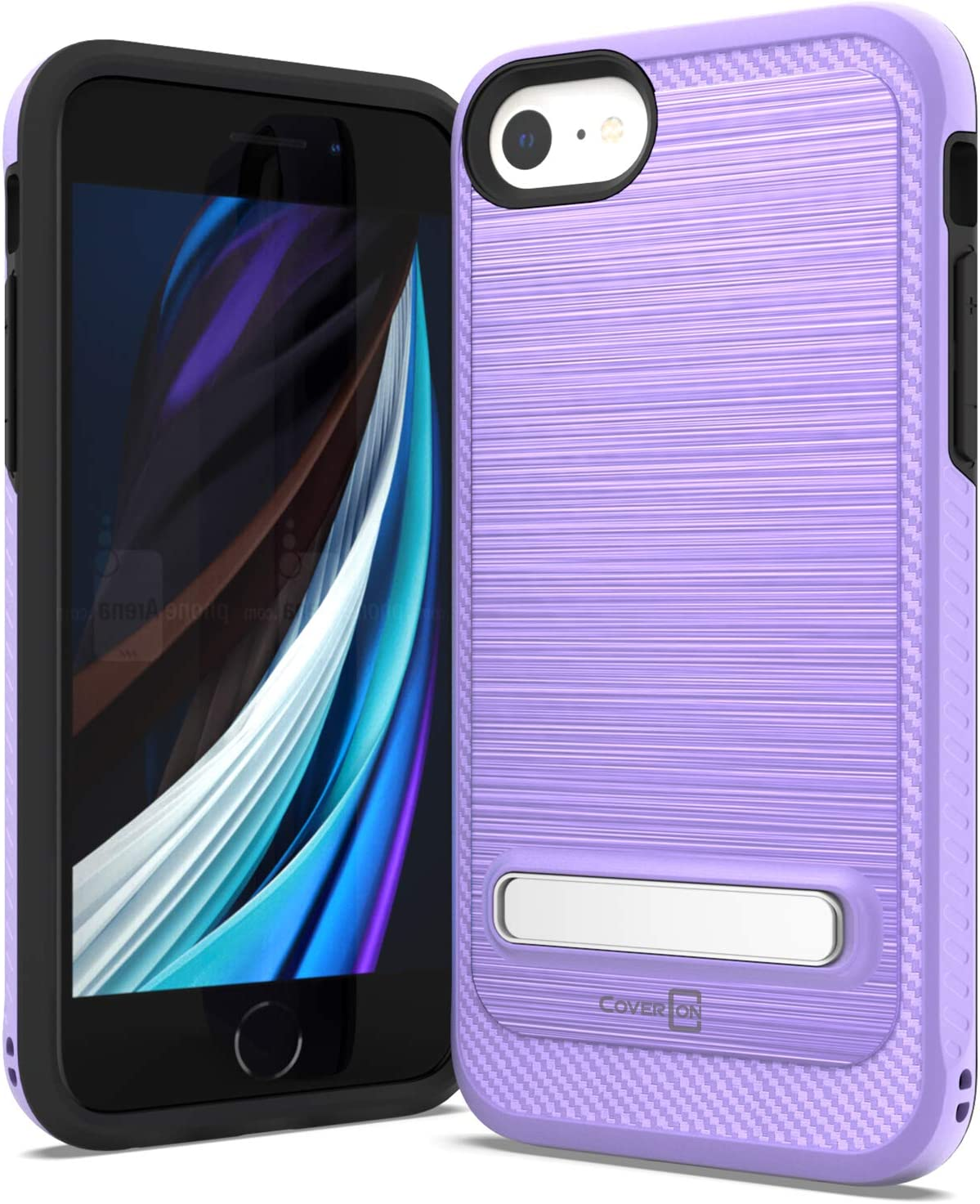 CoverON Metal Kickstand Designed for iPhone SE Case (2020) / iPhone 8/7 Case, Reinforced Magnetic Stand Hybird Rugged Shockproof Phone Cover - Purple