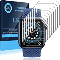 LK 8 Pack Screen Protector Compatible with Apple Watch Series 7 45MM and Apple Watch Series 6 SE Series 5 44MM, Max…