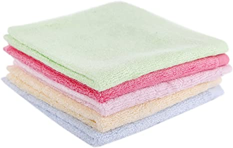 Amazon Com Taprilt 100 Bamboo Rayon Tiny Washcloths Face Cloths Suitable For Kids Set Of 5 Pink Yellow Green Blue Rose Home Kitchen