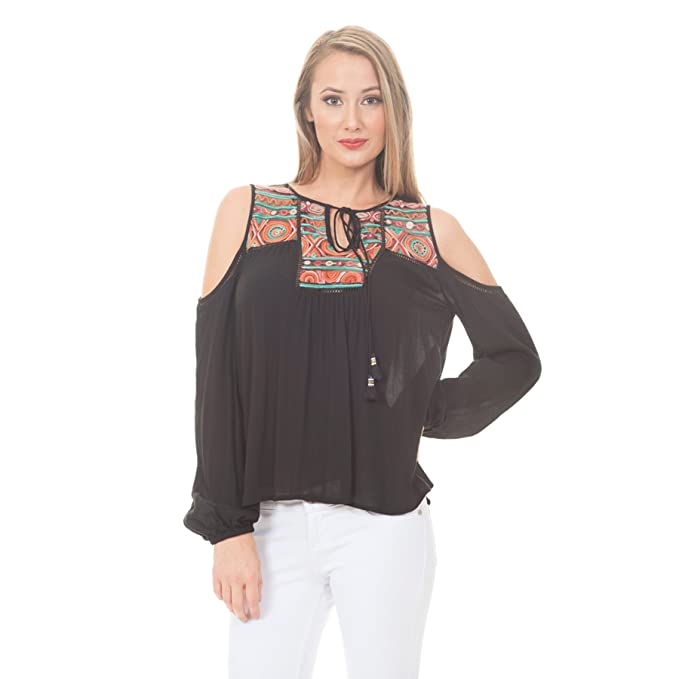 6e2fdca3f2826f Women s Embroidered Yoke Cold Shoulder Top