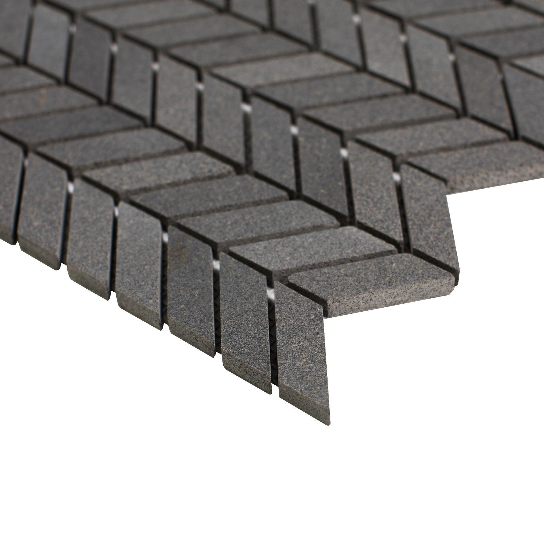 Maykke 12'' x 11'' Holden Chevron Mosaic Wall and Floor Tile | Backsplash for Kitchen, Bathroom, or Laundry Room | 9 Sq Ft Basalt (10-Pack), YOA1000101