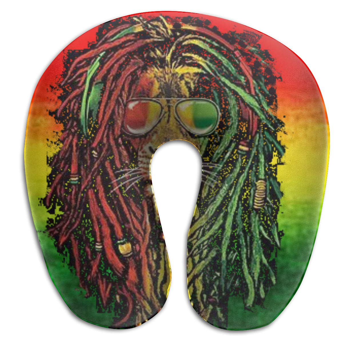 Wodehous Adonis Comfort Rasta Lion Colours Memory Foam Neck Pillows Neck-Supportive Travel Pillow