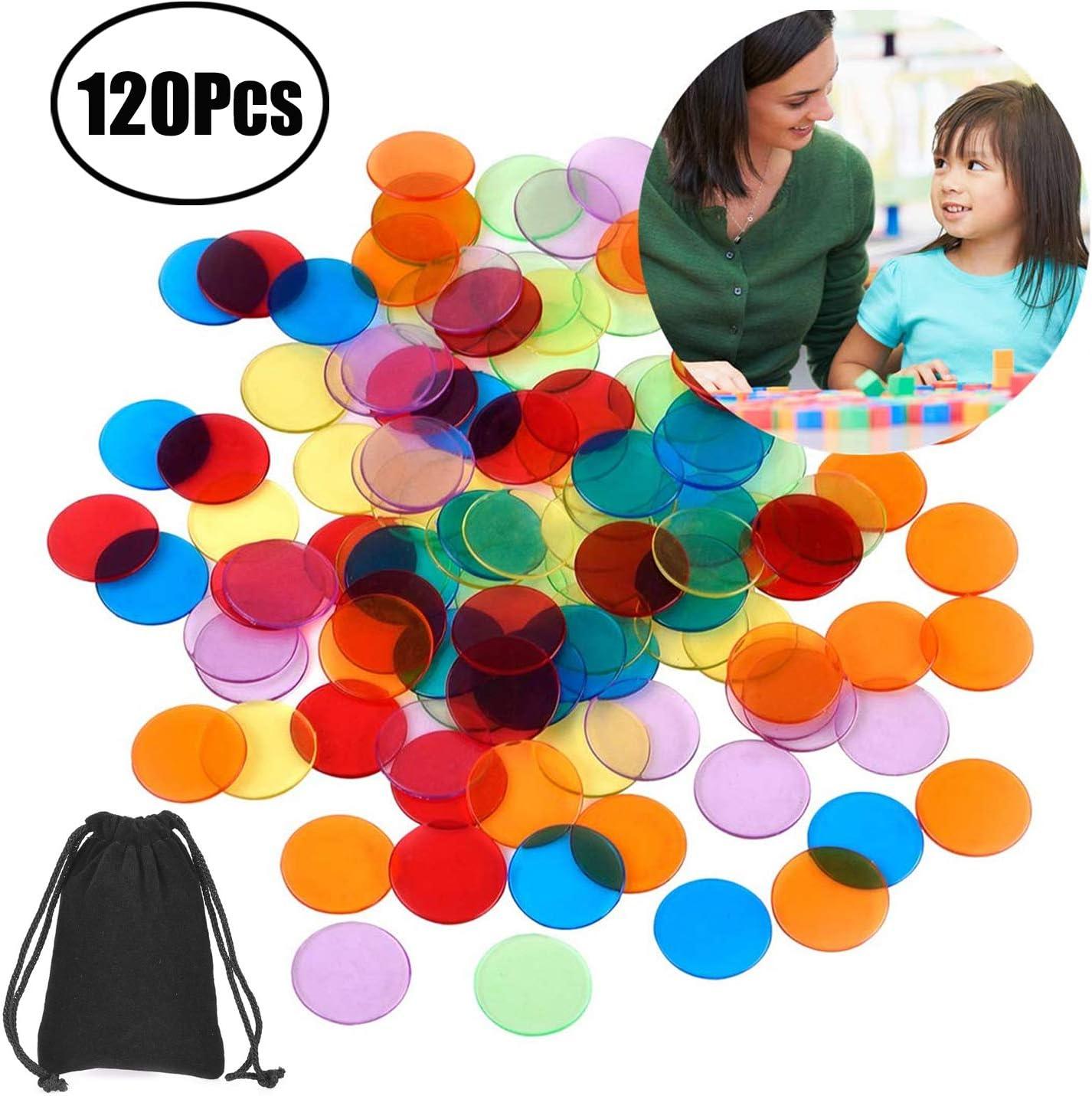 Lvcky - 120 marcadores de plástico transparentes para contar, fichas de bingo con bolsa de almacenamiento