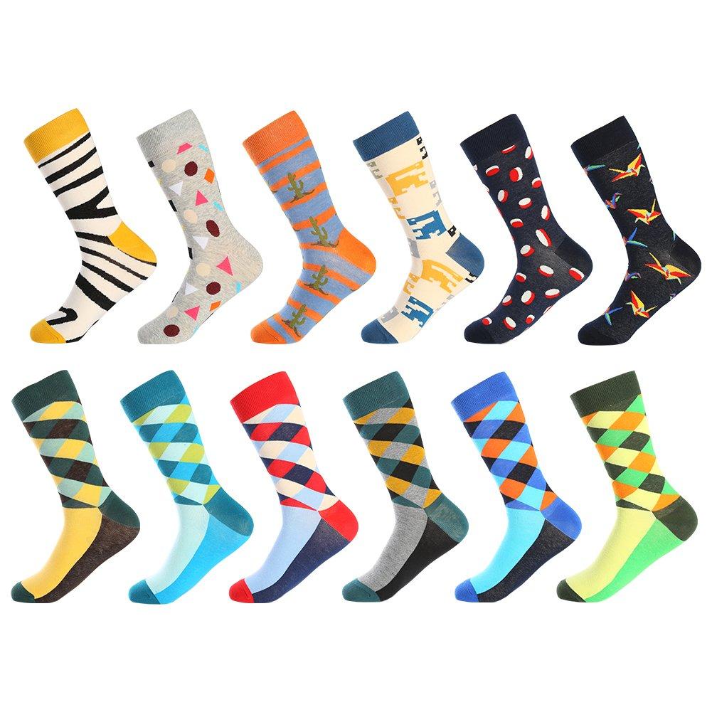 Bonangel Men's Fun Dress Socks-Colorful Funny Novelty Crew Socks Pack, Art Socks