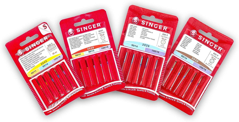 Singer Pack de 4 Paquetes de Agujas para Coser Punto, Elástico, Universales, Algodón, Tejanos y Cuero 2020, 2045, 20246, y 2032 Sistema 130/705 H (Plano de un Lado)