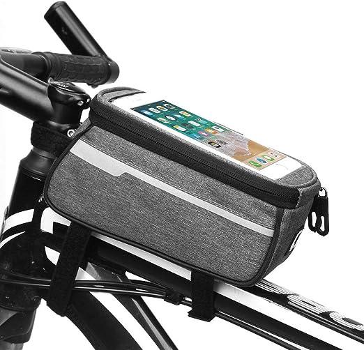 WHTBOX Bolsa De Bicicleta Manillar,Bolsa Bicicleta Cuadro Movil,Pantalla TáCtil Flexible, Estable, Duradera, Gran Espacio, Adecuado para Todo Tipo De Bicicletas,Grey-M: Amazon.es: Jardín