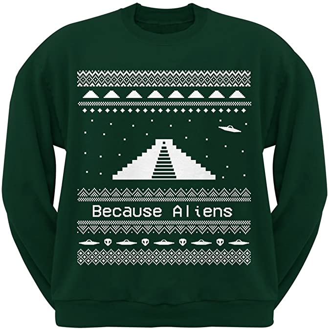 Amazon.com: Ancient Aliens Ugly Christmas Sweater Green Crew Neck ...
