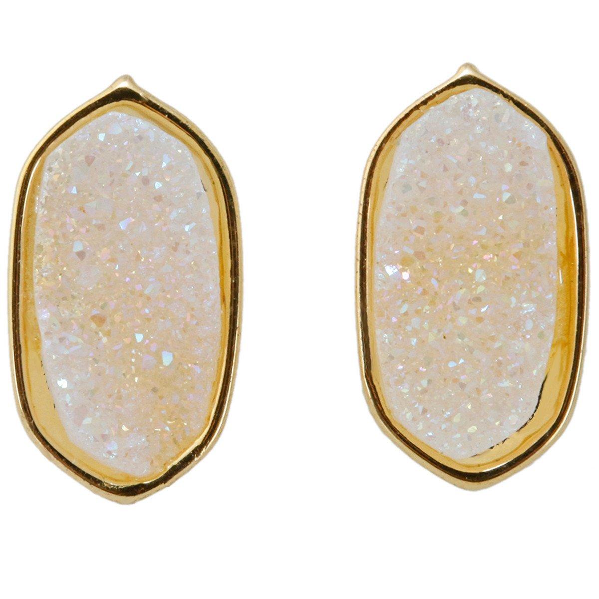 SUNYIK White AB Crystal Titanium Quartz Geode Druzy Oval Stud Earrings
