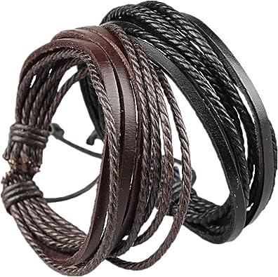Adjustable Black and Tan Leather Bracelet