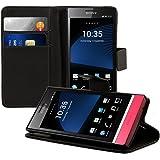 kwmobile Funda para Sony Xperia P - Wallet Case plegable de cuero sintético - Cover con tapa tarjetero y soporte en negro