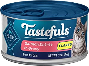 Blue Buffalo Tastefuls Natural Flaked Wet Cat Food, Salmon Entrée in Gravy 3-oz cans (Pack of 24)