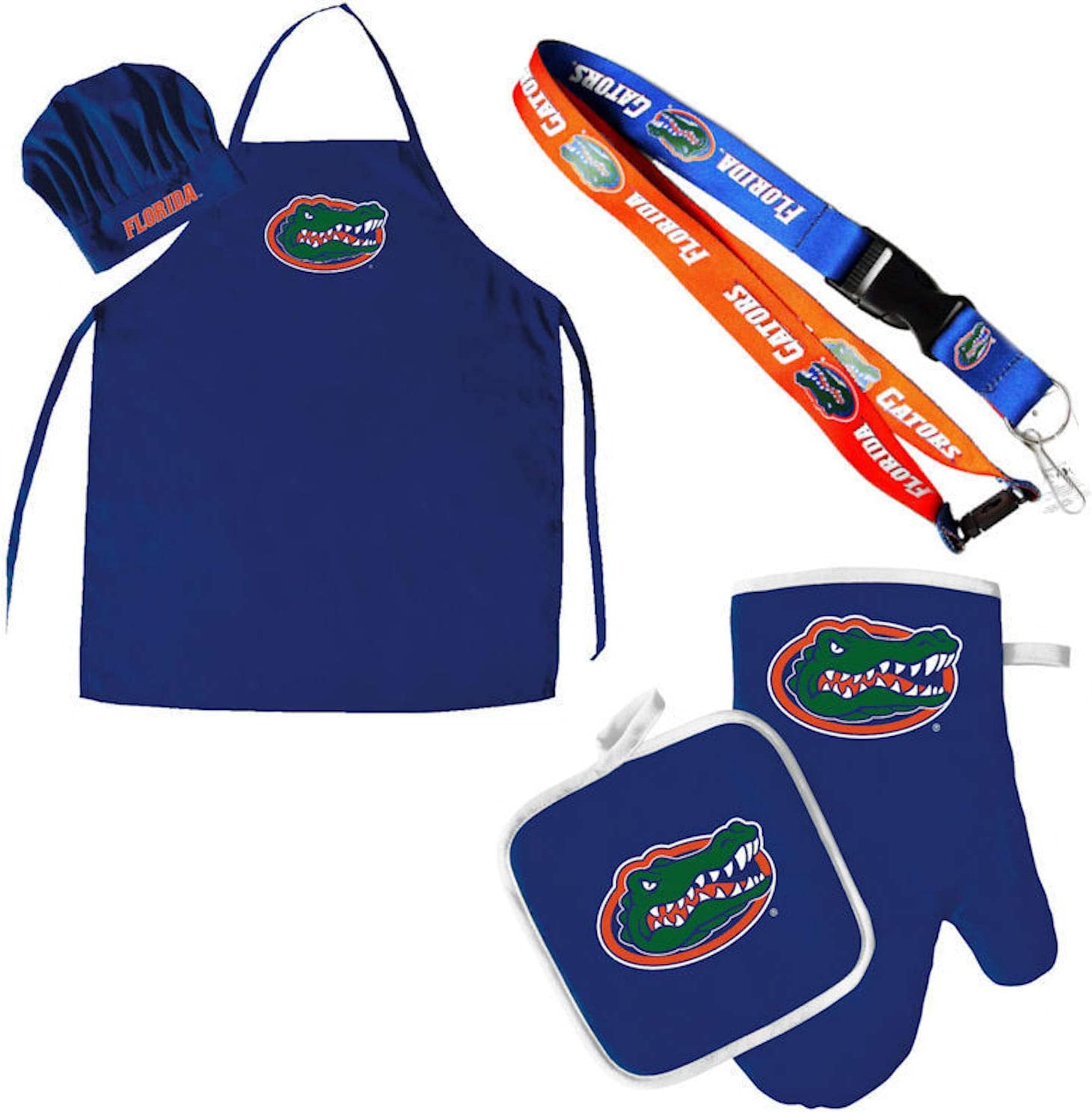 Pro Specialties Group Florida Gators Chef hat Apron and Oven mitt Pot Holder BBQ Tailgate Set Lanyard