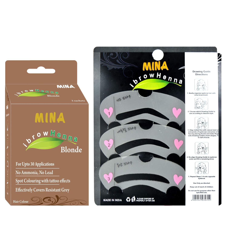 Mina ibrow Henna Tinting Kit & Regular Pack Blonde with Eyebrow Stencils-Combo Pack