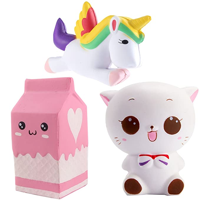 Rocita Conjunto 3 Squishy Kawaii,Juquete Kawaii,Lindo Unicornio Gato Caja de la Leche,Juquete Suave,Juquete Anti-estrés decoraciòn para Adulto niño