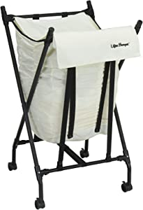 Household Essentials LH1005 Lifter Hamper Spring Loaded Rolling Laundry Bag with Cloth Lid - White