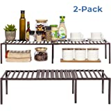 STORAGE MANIAC 2-Pack Expandable Kitchen Counter and Cabinet Shelf, Storage Rack Organizer for Kitchen, Cabinet…
