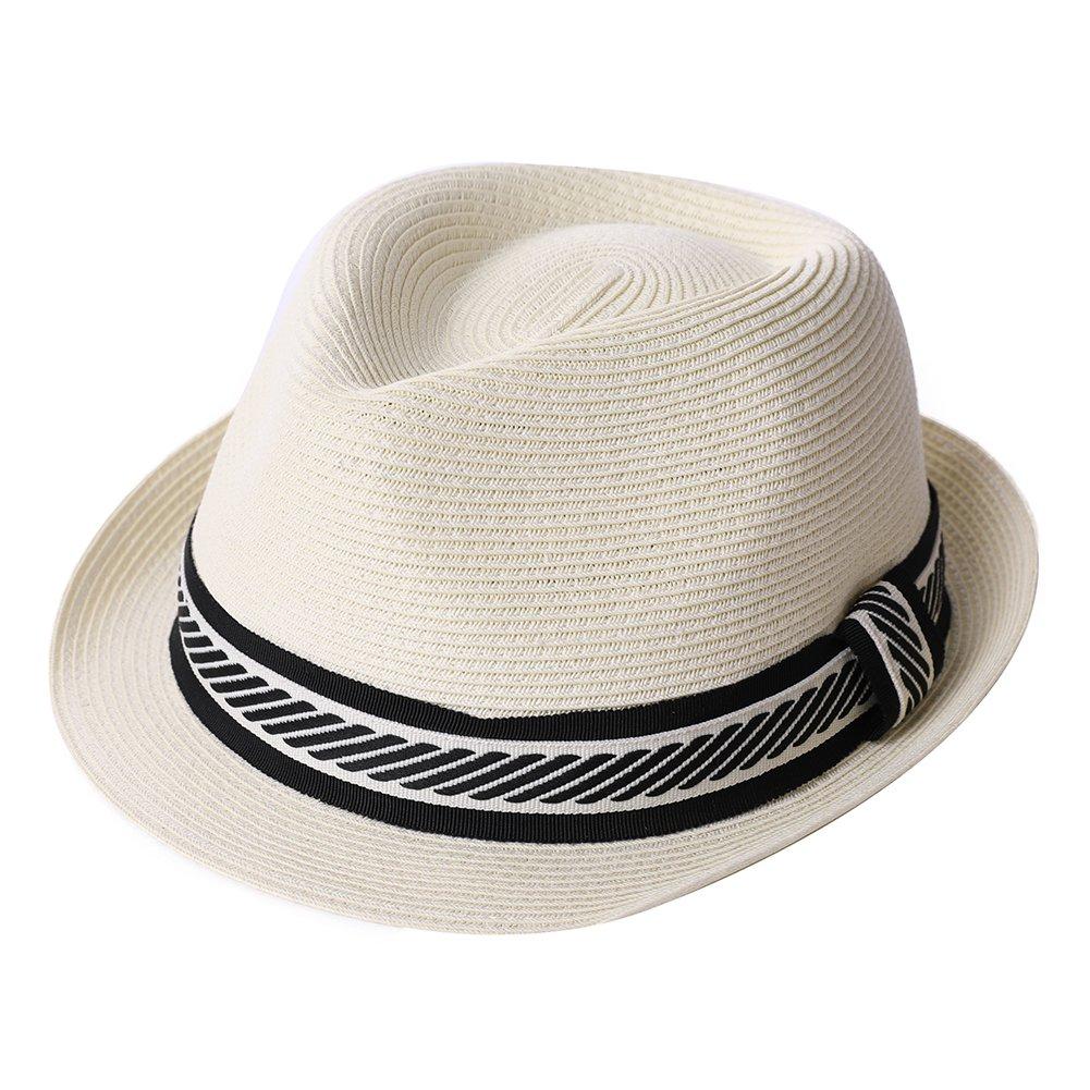Straw Fedora Summer Panama Beach Hats Cap White Men Lady Dress Sun Hats Fashion Crushable 56-57CM