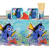 Finding Dory Party Supplies Pack for 16 Guests Includes: Straws, Dessert Plates, Beverage Napkins, Cups, and Table Cover
