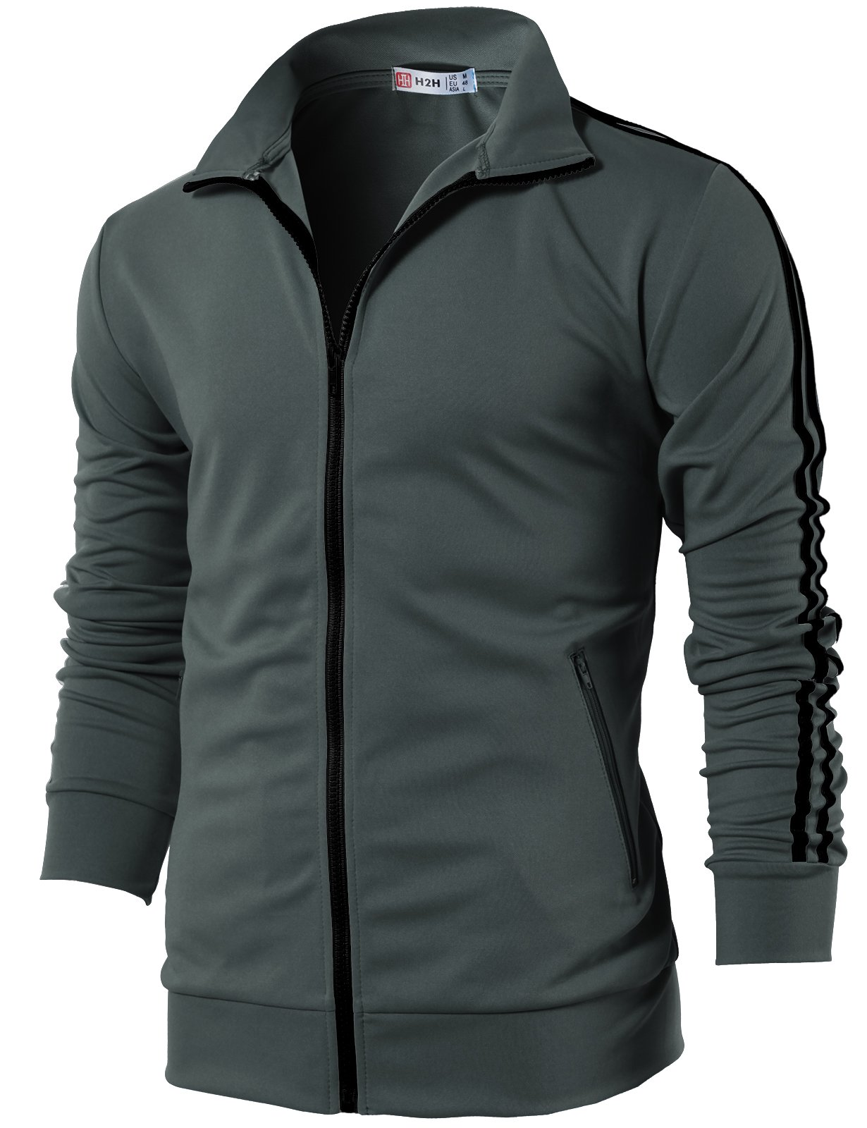 H2H Mens Active Slim Fit Lightweight Line Training Full Zip-up Jacket Charcoal US M/Asia L (CMOJA0103)
