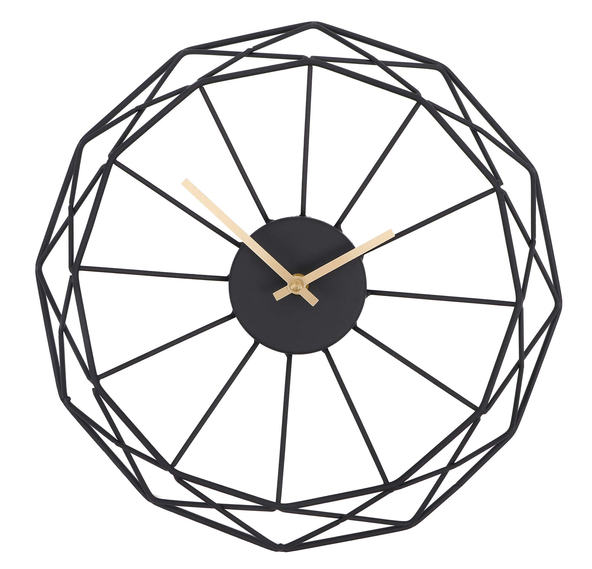 Moonsteps Modern Abstract Artsy 14 inches Black Iron Frame Gold Minute Hour Hand Wall Clock - Durable, strong iron plated black frame Unique & stylish abstract artsy flair clock design Gold plated hour & minute hand for added elegance - wall-clocks, living-room-decor, living-room - 71C9bP8a6UL -