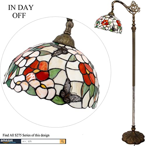 Tiffany Style Reading Floor Lamp Lighting W12H64 Inch Stained Glass Pink Butterfly Lampshade Antique Adjustable Arched Standing Base S275 WERFACTORY Lamps Girlfriend Living Bedroom Beside Table Gift