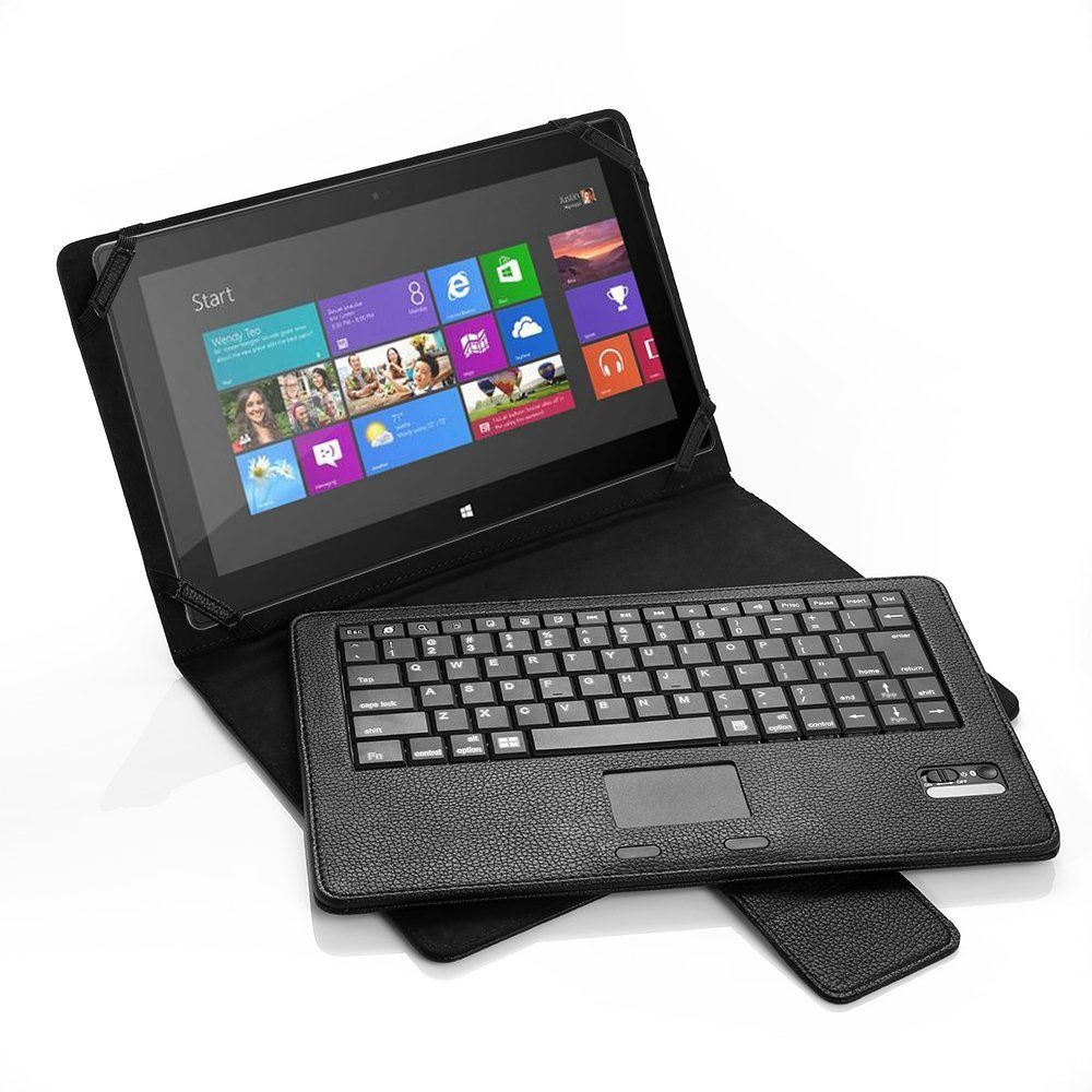 POWERADD Microsoft Surface Pro 2 / Surface 2 / Surface Pro/Surface RT Keyboard Case, Slim Bluetooth Keyboard Touchpad Leather Folio Smart Case 10.6-inch Windows 8/Android Tablet - Black