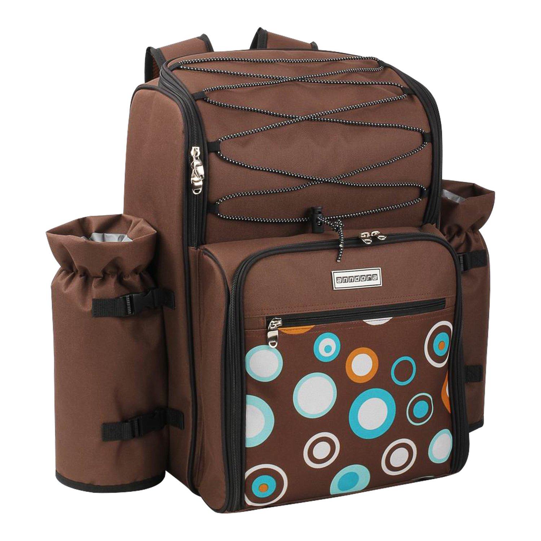 *anndora Picknickrucksack 4 Personen mit integrierter Kühltasche braun Blaue Kreise inkl. 29-teiliges Zubehör*