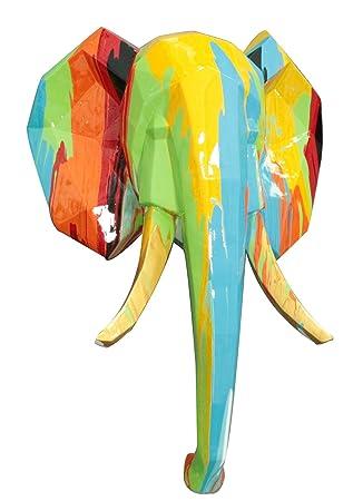 Statue murale tête d\'éléphant en couleur à accrocher - objet ...