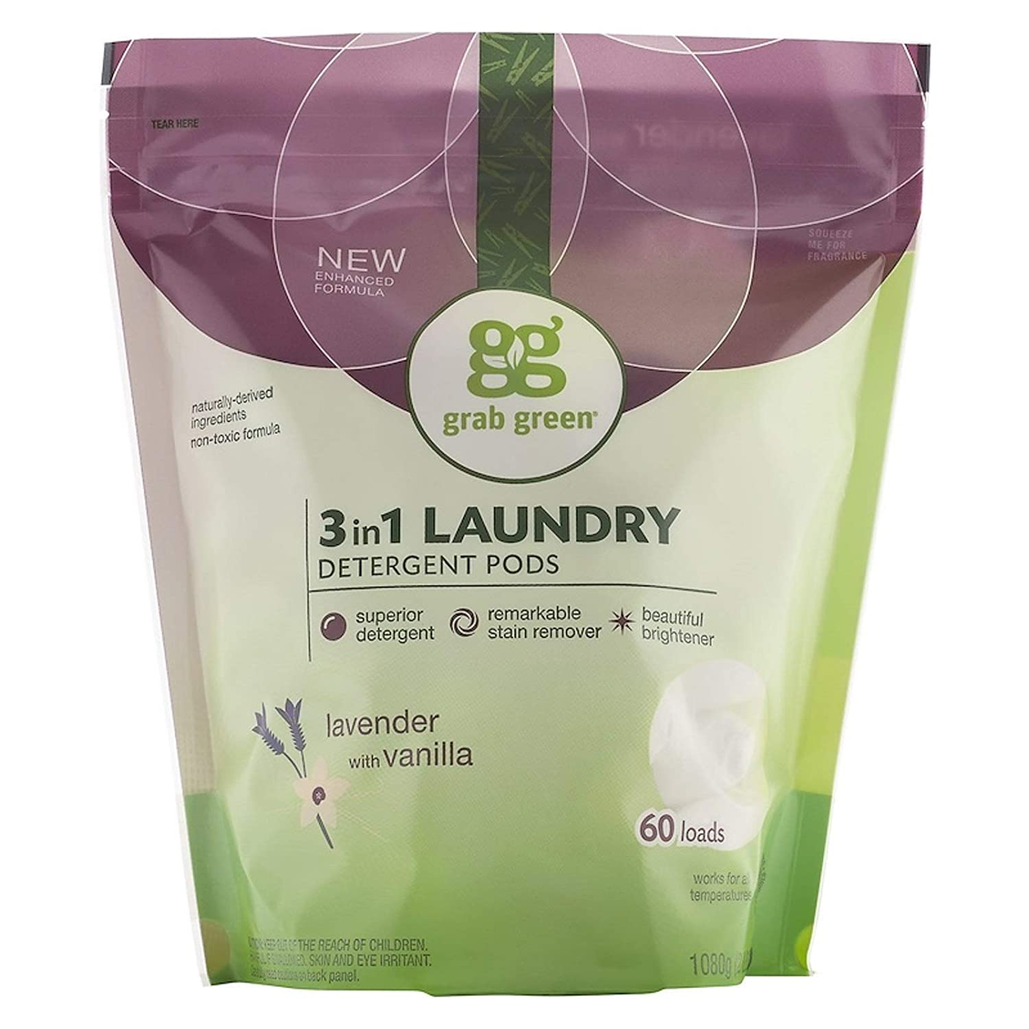 Laundry Detergent Pods 3-in-1 Fragrance Free and Hypoallergenic Naturally-Derived Ingredients 60 Loads 2lbs 6oz 1080 g (Lavender with Vanilla)